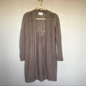 Olive and Oak Grey Knit Sweater Long Cardigan sz S